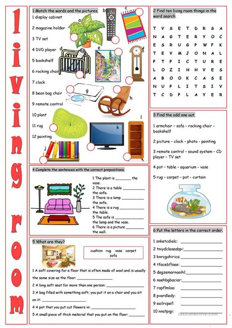 Living Room Exercises Living Room Vocabulary Exercises Worksheet Free Esl