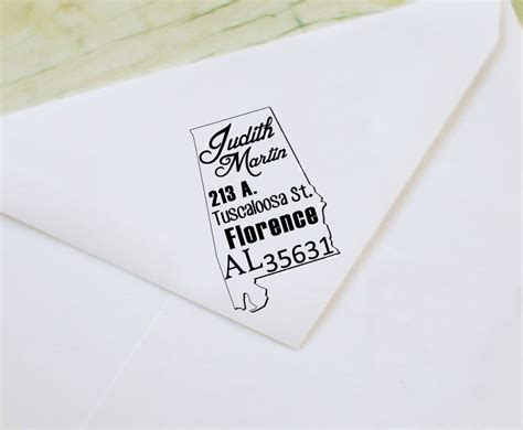 rubber return address st custom alabama map return address rubber st wood