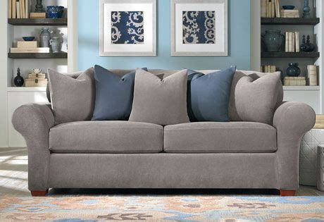 cozy fit sofa covers flannel gray and blue oh so cozy sure fit slipcovers