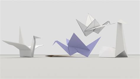 origami 3d model origami birds 3d model fbx cgtrader