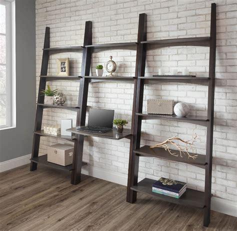desk with bookshelf on side modern newport wall desk with side bookshelves from
