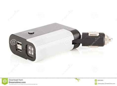 car charger led flashlight with usb ports stock photos