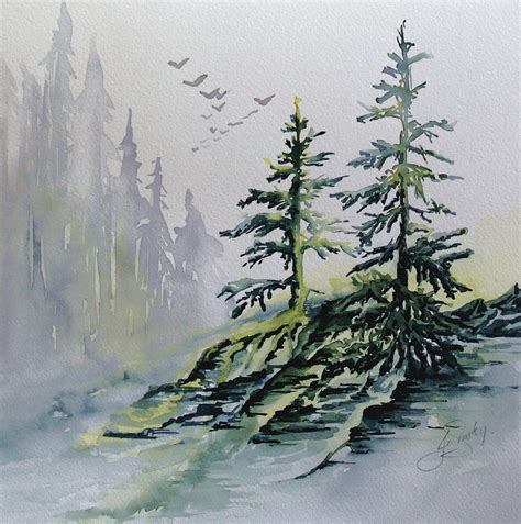 acrylic painting evergreen trees evergreens in the mist painting by joanne smoley