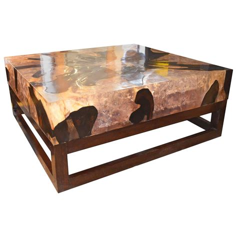 Resin Coffee Table with Cracked Resin Coffee Table For Sale At 1stdibs