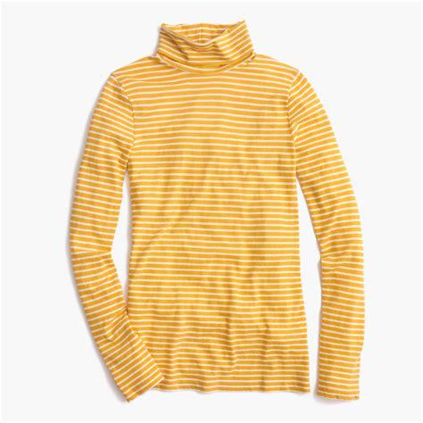 j crew tissue turtleneck t shirt in stripe in yellow lyst