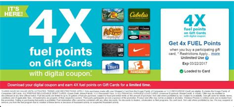Kroger Visa Gift Card - kroger 4x fuel points on gift cards through 3 22 frequent miler