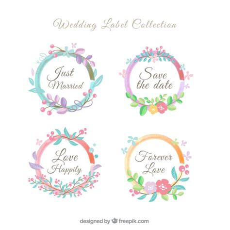 Wedding Labels by Floral Wreath Wedding Label Collection Vector Free