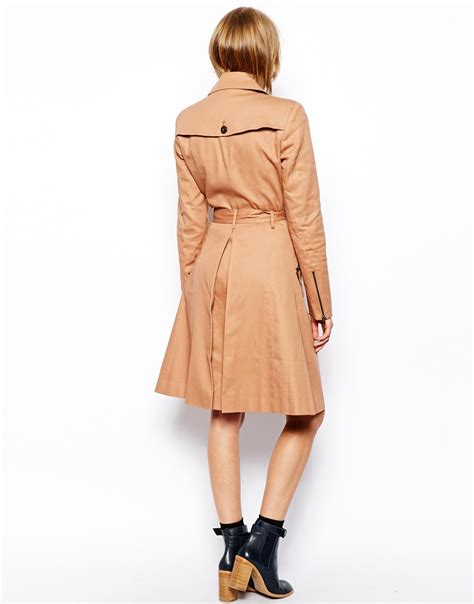 Asos Longline Classic Mac asos classic trench longline in brown lyst