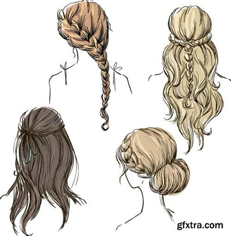 Different Hairstyle Photoshop by Set Of Different Hairstyles 8x Eps 187 Vector Photoshop