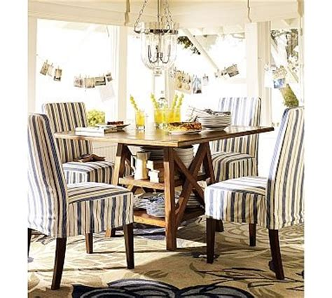 pottery barn dining room chair slipcovers love this half skirt slip look napa chair slipcovers