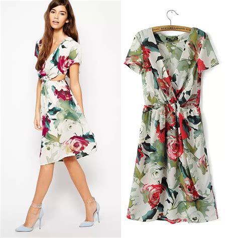Baju Wanita Express V Neck musim panas gaya wanita lengan pendek v dalam leher gaun dicetak bunga busana retro sifon gaun