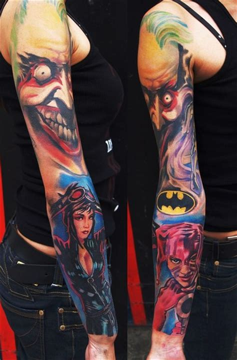 joker cat woman and harley quinn tattoo sleeve best