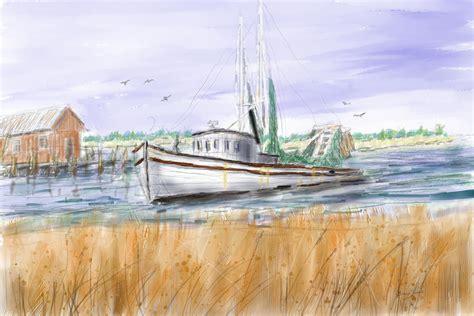 shrimp boat art trips end shrimp boat art painting by barry jones
