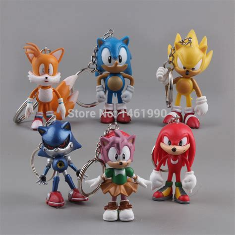 Figure 1 Set 6 Pcs 6pcs set sonic the hedgehog pvc figure toys dolls sonic keychains 8cm in free shipping in