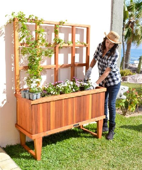 Standing Garden Planter by Redwood Planter Box Custom Size Planters
