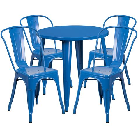 blue outdoor table and chairs 30 blue metal indoor outdoor table set with 4 cafe