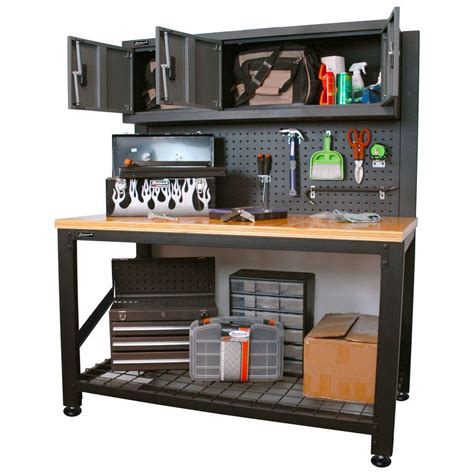storage work bench homak garage series 5 ft industrial steel workbench with