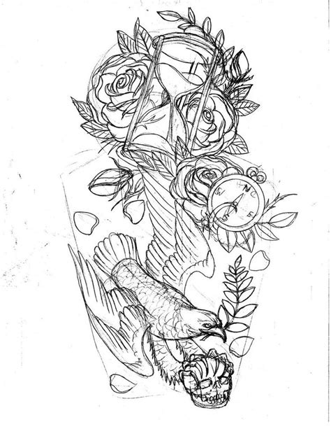 quarter sleeve tattoo stencil hour glass tattoos traditional american style hour glass