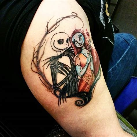 nightmare before christmas couples tattoos painted colorful nightmare before