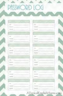 password journal template password printable on home management home