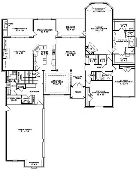 5 bedroom 1 story house plans 5 bedroom 3 bath house plans beautiful one story 5 bedroom house floor plans pinterest house