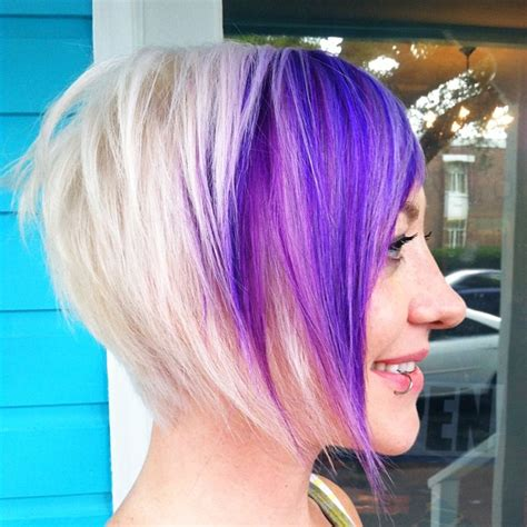 hairstyles blonde and purple purple platinum angled bob textured hair blonde hair style