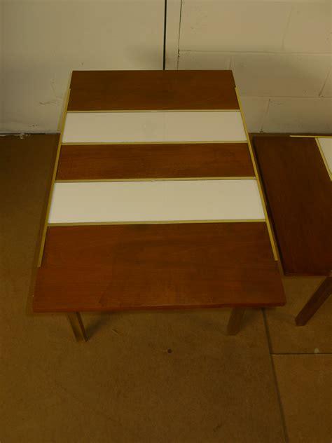 mid century modern walnut white glass brass coffee table mid century modern walnut white