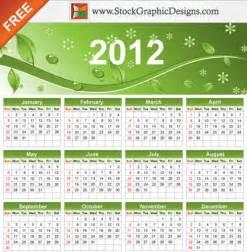2012 eco green free vector calendar vector free download