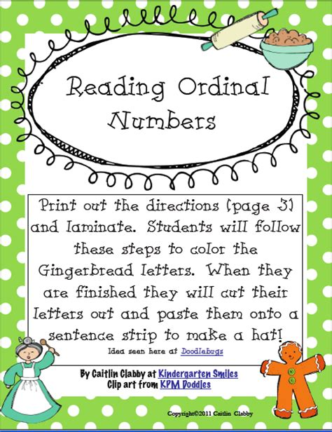 Ordinal Home 11 by Classroom Freebies Gingerbread Ordinal Numbers