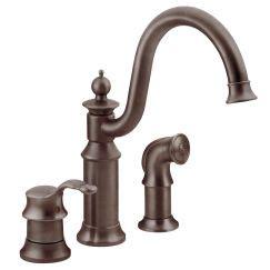 7185ec moen brantford series hands free kitchen faucet brantford oil rubbed bronze one handle high arc pulldown