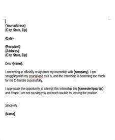 internship resignation letter template 6 free word pdf