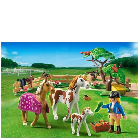 Playmobil Horse Farm Paddock With Horses And Pony