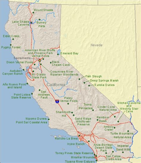 parks in california map california national and state parks travel around usa