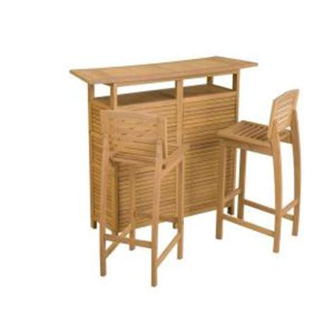 Home Depot Outdoor Bar by Home Styles Bali Hai Teak 3 Patio Bar Set 5660 998 The Home Depot