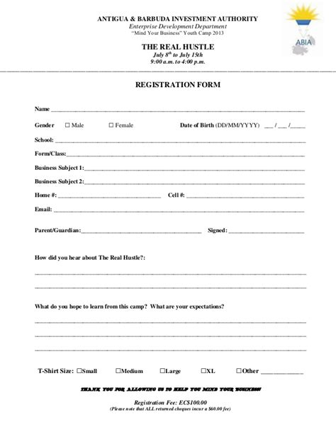 Registration Form Investment Application Form Template