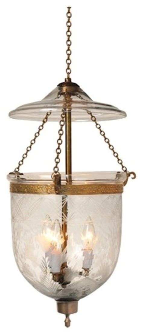 Traditional Pendant Lights Tulip Etching Hundi Glass Bell Jar Lantern 7 Quot D Antique Brass Traditional Pendant Lighting