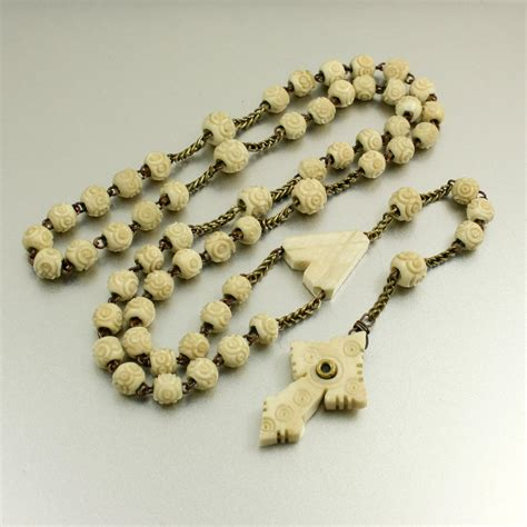 vintage rosary antique rosary stanhope cross with lens stanhope rosary carved