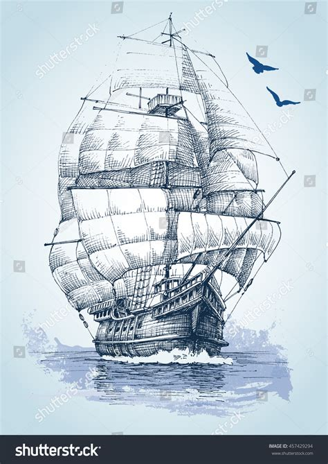 drawing of boat in water boat on sea drawing sailboat vector stock vector 457429294