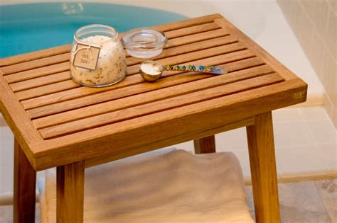 smith and hawken teak bench give your bathroom the spa treatment hgtv