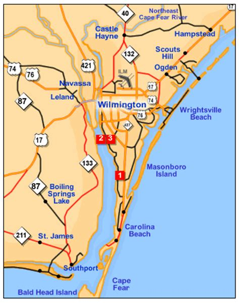 printable road map of wilmington nc printable map of city map of wilmington new hanover