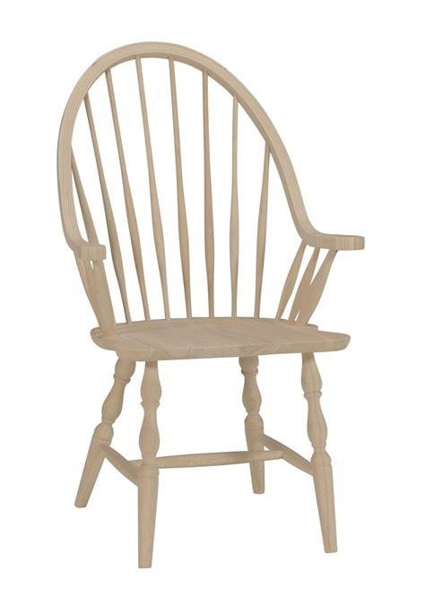 unfinished tall windsor arm chair  wood seat built
