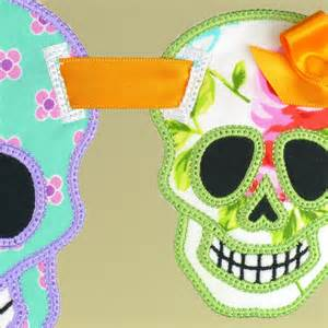 machine embroidery banners sugar skull banner in the hoop machine embroidery project