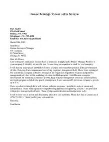 project cover letter sle letter of recommendation for project manager