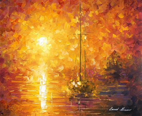 orange painting orange fog 3 original oil painting on canvas by leonid