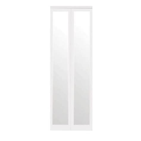 bifold mirrored closet doors home depot impact plus mir mel primed mirror white trim solid mdf