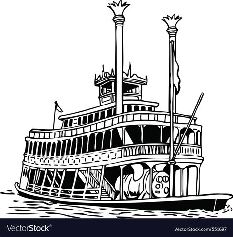 steamboat vector steamboat lineart royalty free vector image vectorstock