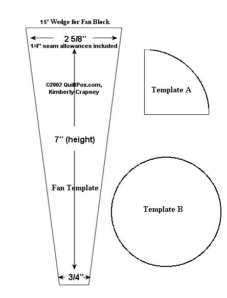 dresden plate template free 15 degree wedge for fan block 7 in height 3 4 in bottom