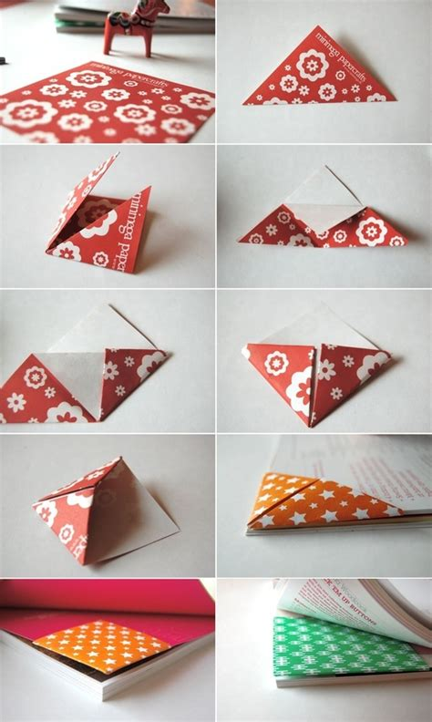 Folded Paper Corner Bookmark - origami triangle bookmark origami corner