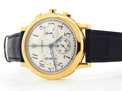 mens l leroy osmior solid 18k yellow gold chronograph