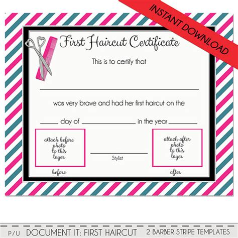 First Haircut Certificate Baby First Haircut Photo Haircut Certificate Template
